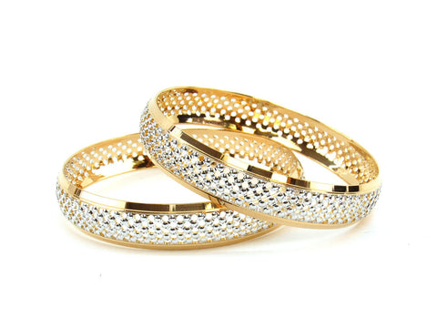 47.68g 22Kt Gold Lazer Bangle Set (Sz: 6)