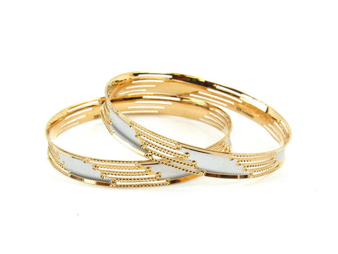 42.9g 22Kt Gold Lazer Bangle Set (Sz: 8)