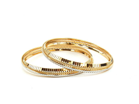 31.92g 22Kt Gold Lazer Bangle Set (Sz: 4)