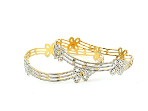 36.60g 22Kt Gold Lazer Bangle Set (Sz: 6)