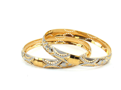 36.70g 22Kt Gold Lazer Bangle Set (Sz: 8)