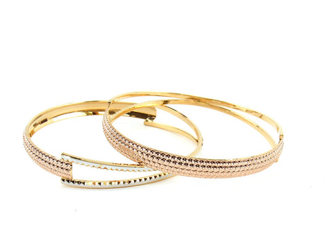 32.15g 22Kt Gold Lazer Bangle Set (Sz: 6)