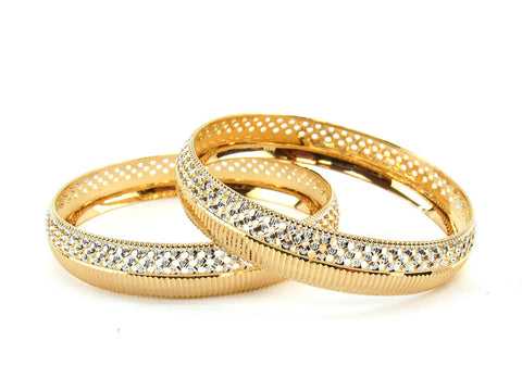 51.27g 22Kt Gold Lazer Bangle Set (Sz: 6)
