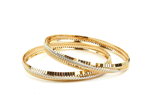 30.51g 22Kt Gold Lazer Bangle Set (Sz: 6)