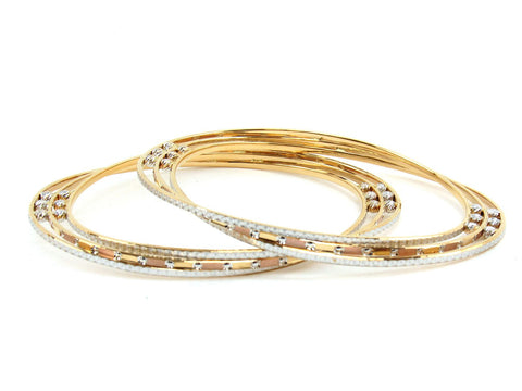 46.92g 22Kt Gold Lazer Bangle Set (Sz: 8)