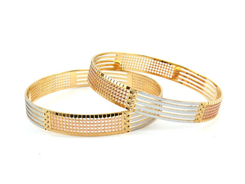 51.33g 22Kt Gold Lazer Bangle Set (Sz: 8)