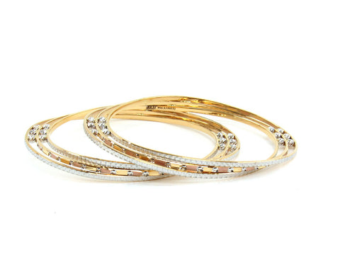 40.91g 22Kt Gold Lazer Bangle Set (Sz: 4)
