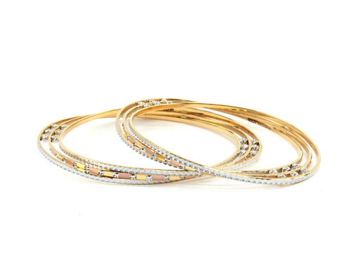 44.19g 22Kt Gold Lazer Bangle Set (Sz: 6)