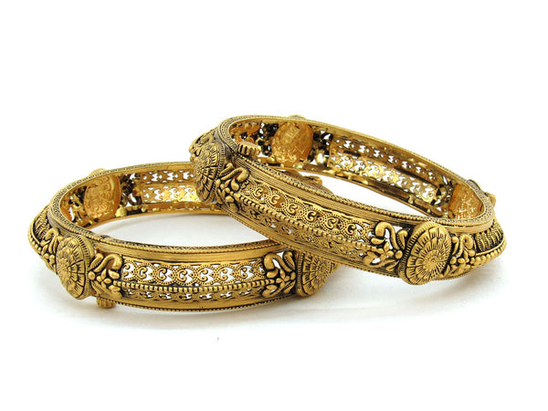 54.20g 22Kt Gold Antique Bangle Set (Sz: 5)