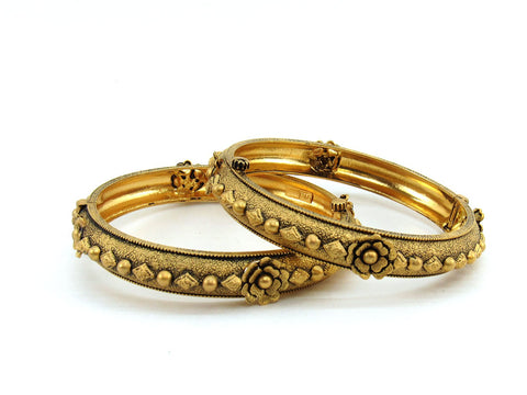 44.50g 22Kt Gold Antique Bangle Set (Sz: 5)