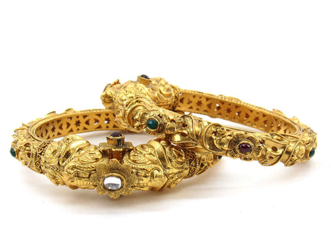 76.995g 22Kt Gold Antique Bangle Set (Sz: 5)