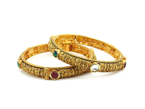 53.95g 22Kt Gold Antique Bangle Set (Sz: 5)