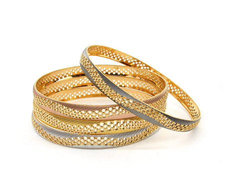 66.2g 22Kt Gold Bangle Set (Sz: 8) - 2351