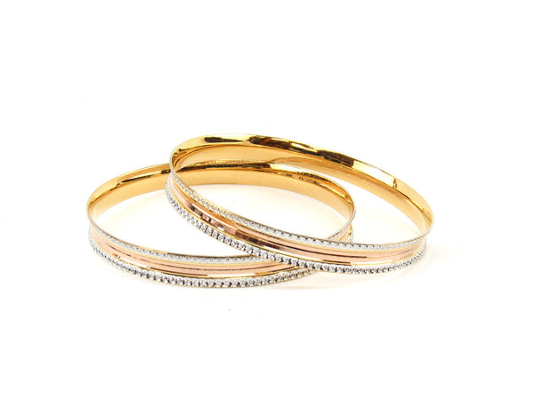35.9g 22Kt Gold Bangle Set (Sz: 8) - 2354