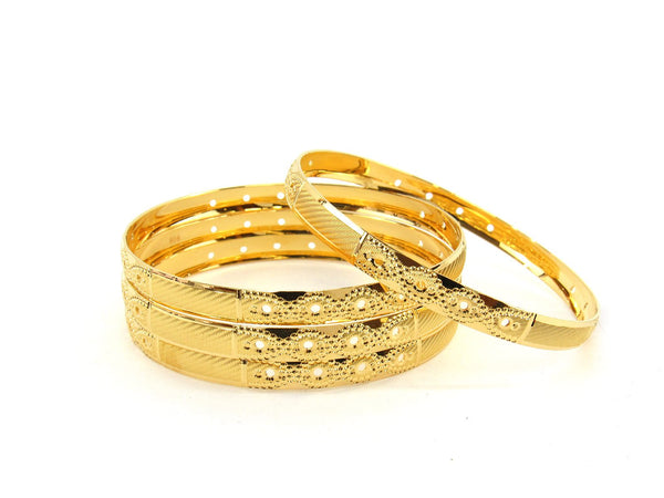 50.2g 22Kt Gold Bangle Set (Sz: 6) - 2356