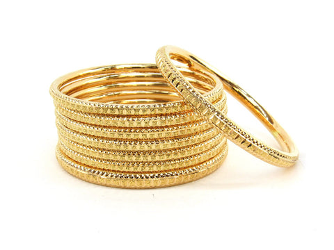 101.3g 22Kt Gold Bangle Set (Sz: 4) - 2363