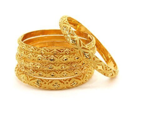 72.5g 22Kt Gold Bangle Set (Sz: 4) - 2364
