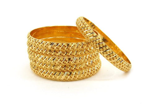 78.8g 22Kt Gold Bangle Set (Sz: 4) - 2365