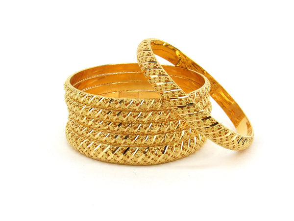 73.2g 22Kt Gold Bangle Set (Sz: 4) - 2366