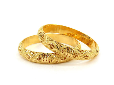 56.7g 22Kt Gold Bangle Set (Sz: 8) - 2367