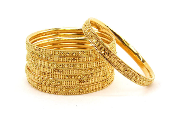 113.7g 22Kt Gold Bangle Set (Sz: 2) - 2369
