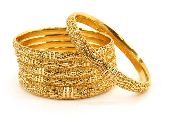 70g 22Kt Gold Bangle Set (Sz: 6) - 2370