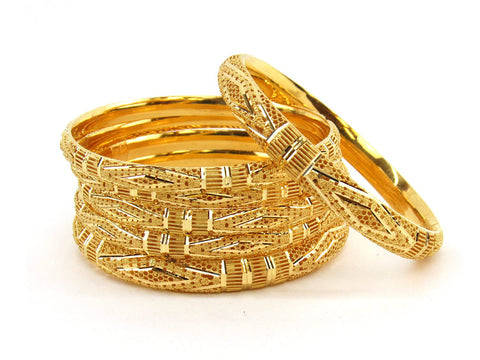 76.6g 22Kt Gold Bangle Set (Sz: 6) - 2372