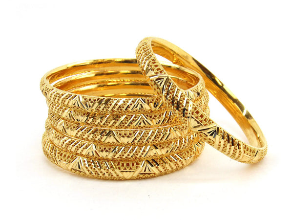 78.3g 22Kt Gold Bangle Set (Sz: 6) - 2373