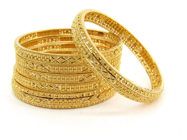 87.3g 22Kt Gold Bangle Set (Sz: 6) - 2374