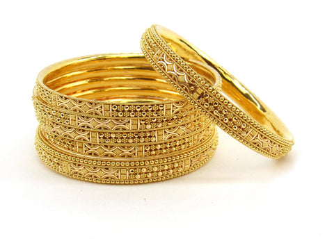 86.4g 22Kt Gold Bangle Set (Sz: 5) - 2375