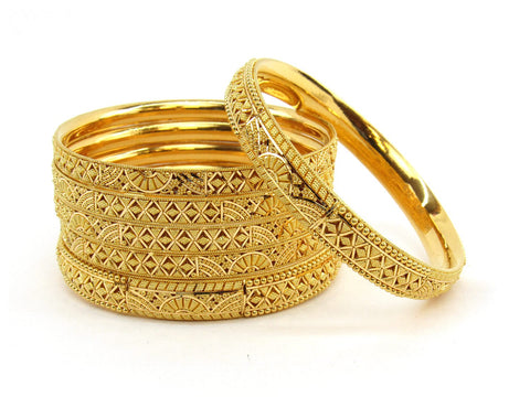 100.7g 22Kt Gold Bangle Set (Sz: 5) - 2376