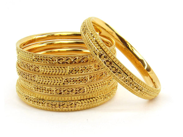96.4g 22Kt Gold Bangle Set (Sz: 6) - 2377
