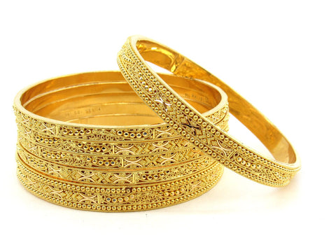 108.6g 22Kt Gold Bangle Set (Sz: 11) - 2380