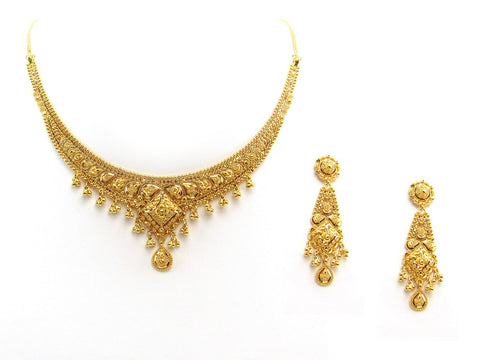 34.50g 22Kt Gold Yellow Necklace Set 2407