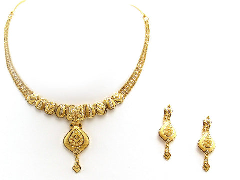 24.40g 22Kt Gold Yellow Necklace Set 2412