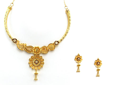 34.70g 22Kt Gold Yellow Necklace Set 2413