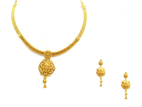 34.80g 22Kt Gold Yellow Necklace Set 2434