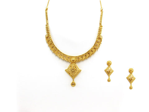 38.80g 22Kt Gold Yellow Necklace Set 2441