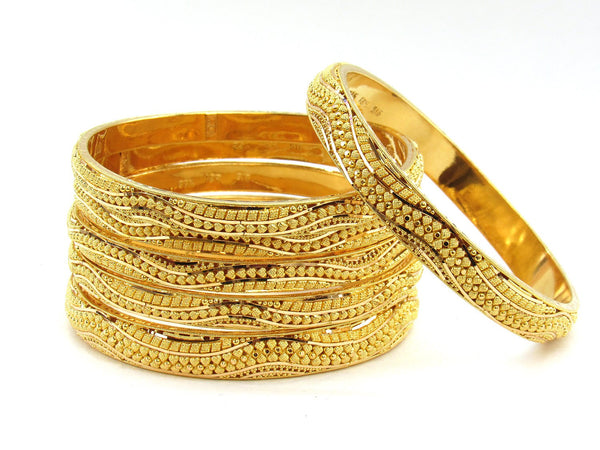 99.20g 22Kt Gold Stackable Bangle Set (Sz: 6)