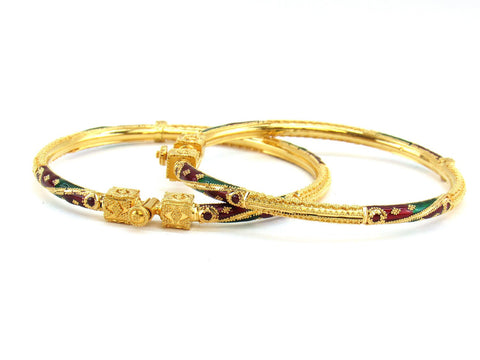 27.10g 22Kt Gold Pipe Bangle Set (Sz: 5)