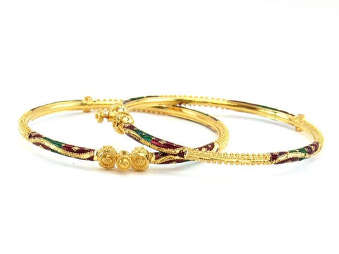 21.55g 22Kt Gold Pipe Bangle Set (Sz: 5)