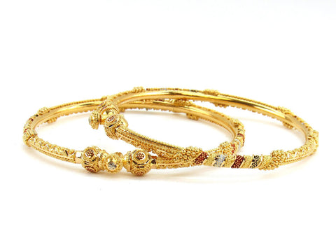 27.90g 22Kt Gold Pipe Bangle Set (Sz: 5)