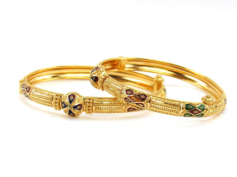 34.40g 22Kt Gold Yellow Bangle Set (Sz: 5)