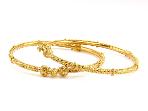 27.40g 22Kt Gold Pipe Bangle Set (Sz: 5)