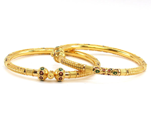33.60g 22Kt Gold Pipe Bangle Set (Sz: 5)