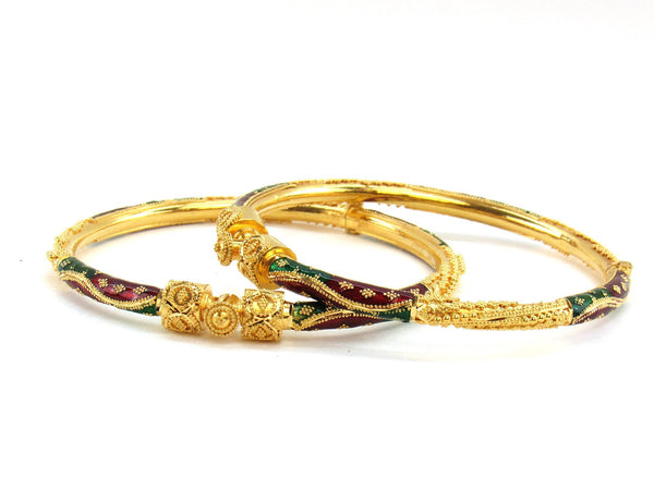 29.35g 22Kt Gold Pipe Bangle Set (Sz: 5)