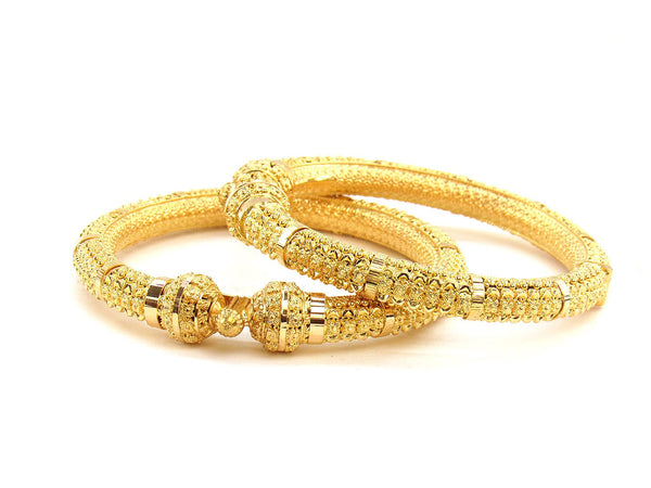 61.10g 22Kt Gold Pipe Bangle Set (Sz: 5)
