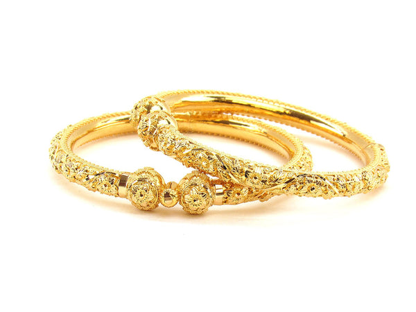 50.70g 22Kt Gold Pipe Bangle Set (Sz: 5)