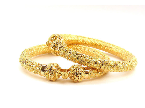 60.20g 22Kt Gold Pipe Bangle Set (Sz: 5)