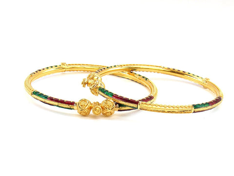 24.20g 22Kt Gold Pipe Bangle Set (Sz: 5)